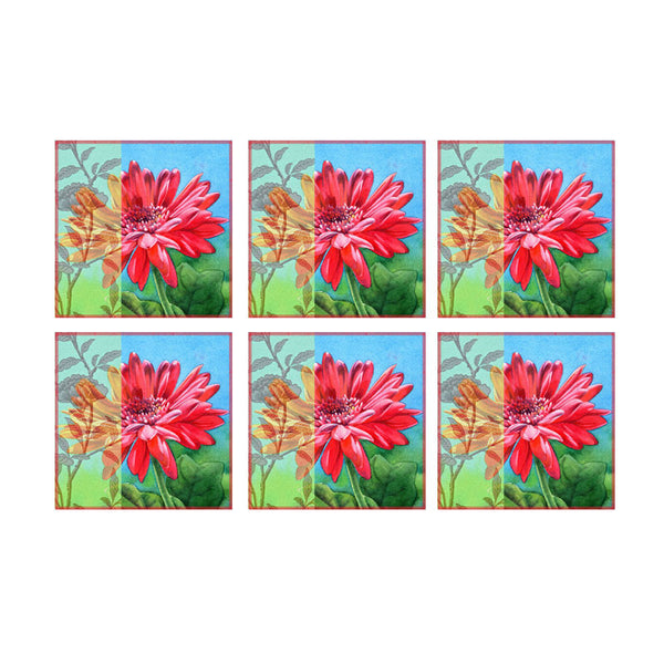 Leaf Designs Multicoloured Pink & Orange Floral Coasters - Set Of 6