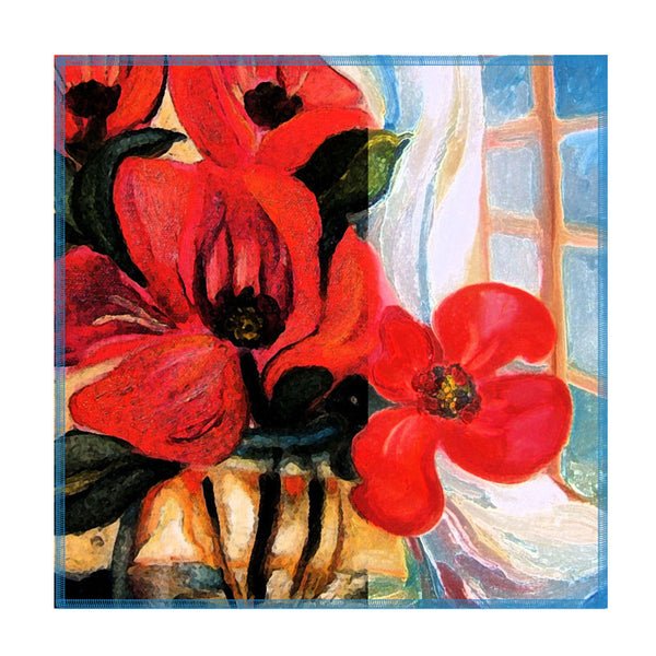Leaf Designs Deep Red Floral Coasters - Set Of 6