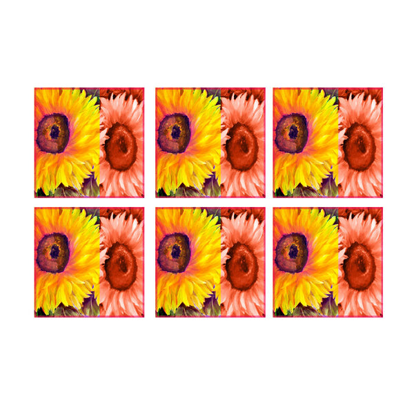 Leaf Designs Yellow & Orange Floral Coasters - Set Of 6