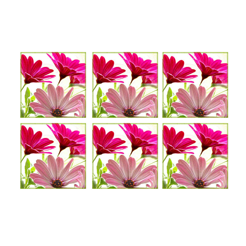 Leaf Designs Double Pink Coasters - Set Of 6