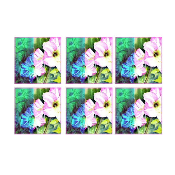 Leaf Designs Pink & Blue Flowers Coasters - Set Of 6