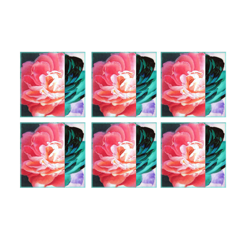Leaf Designs Blue & Pink Rose Coasters - Set Of 6