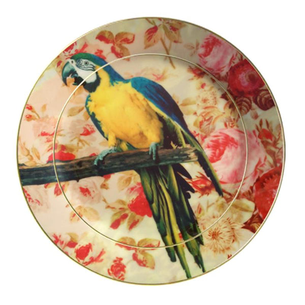 Leaf Designs Blue Parrot Ceramic Dinner Plate