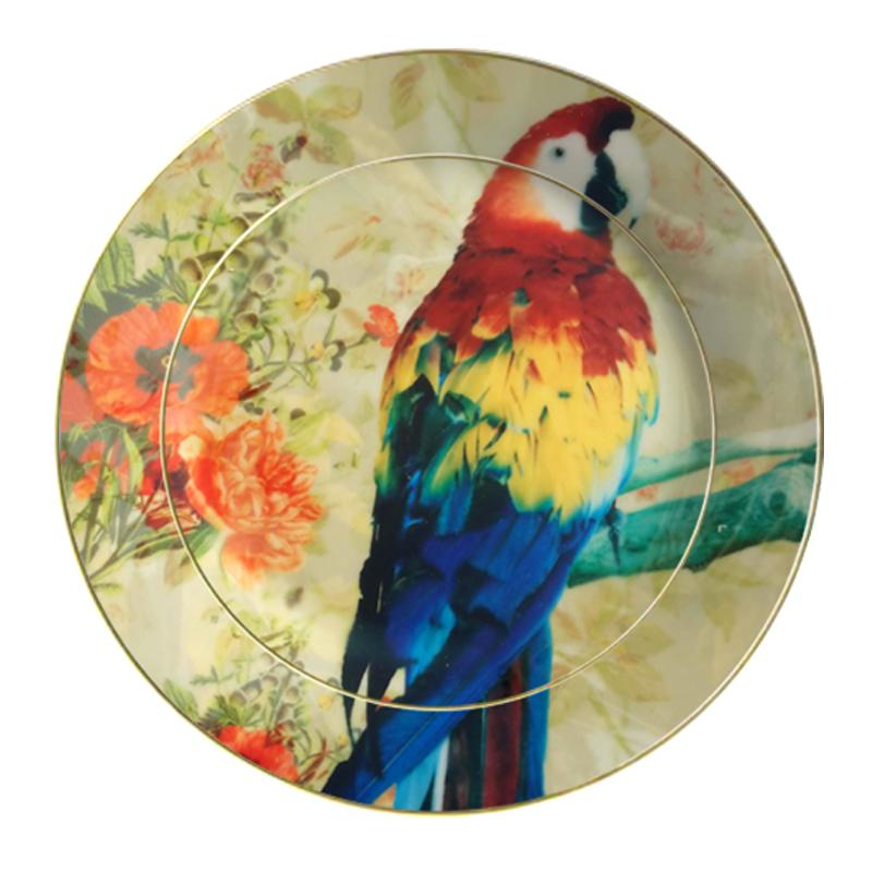 Leaf Designs Multicolor Parrot Ceramic Dinner Plate