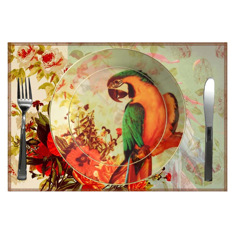 Leaf Designs Green Parrot (A) Ceramic Dinner Plate