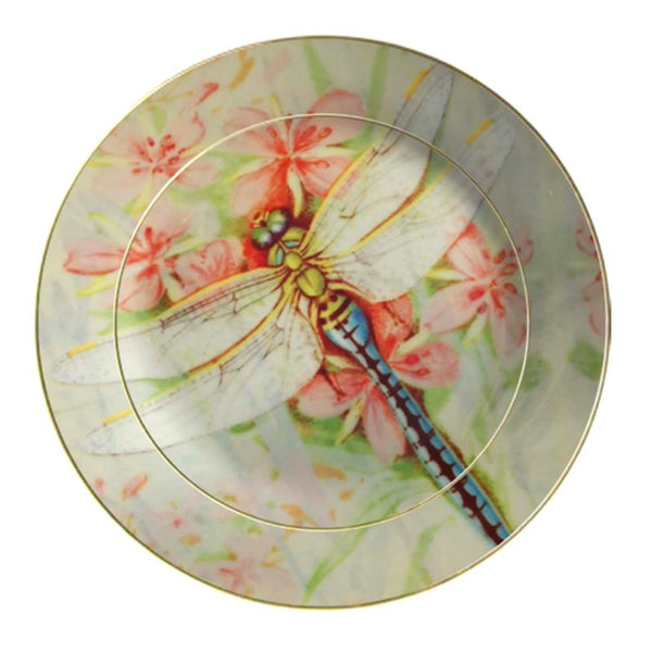 Leaf Designs Pink Dragonfly Ceramic Dinner Plate