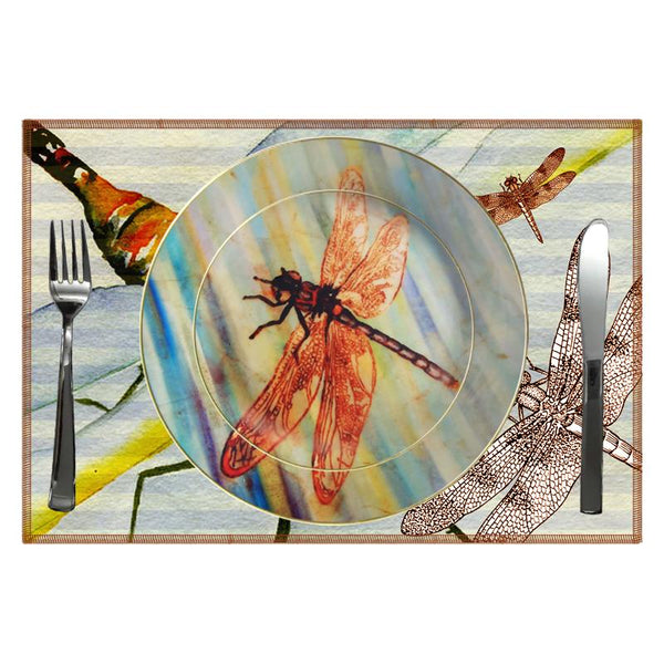 Leaf Designs Multicolor Dragonfly Ceramic Dinner Plate