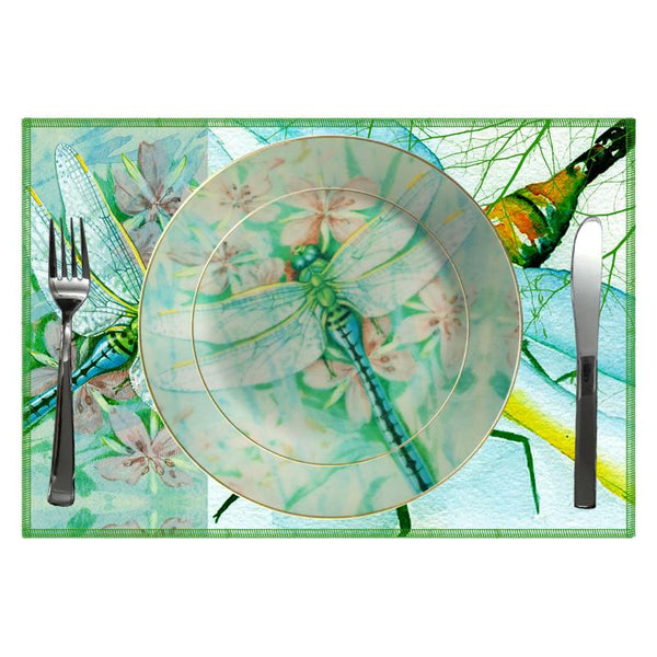 Leaf Designs Green Dragonfly Ceramic Dinner Plate