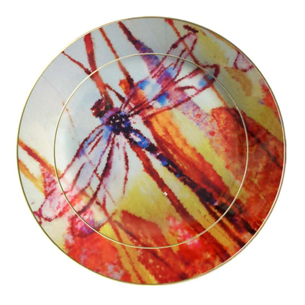 Leaf Designs Brown Dragonfly Ceramic Dinner Plate