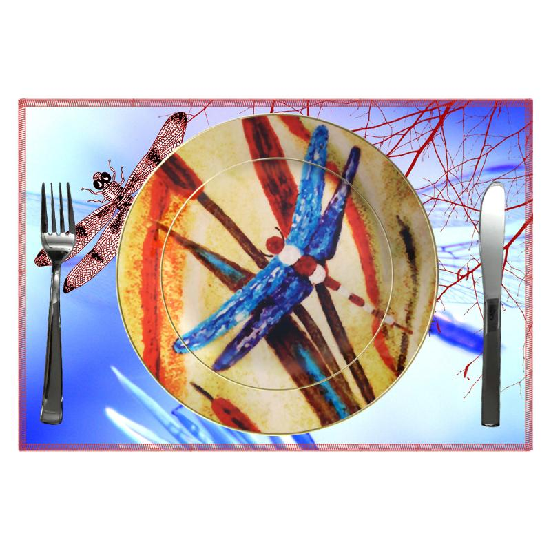 Leaf Designs Blue Dragonfly Ceramic Dinner Plate