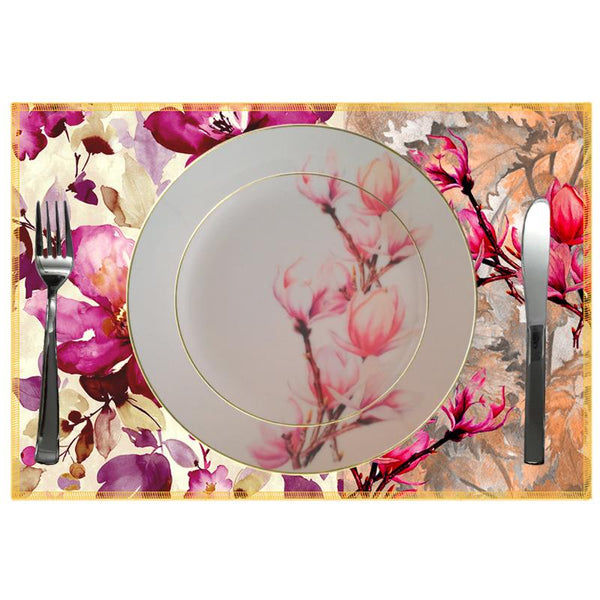 Leaf Designs Shaded Pink Floral Dinner Plate