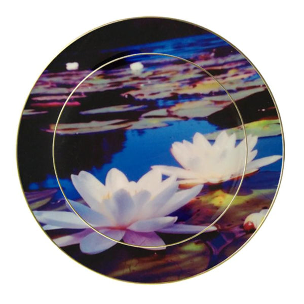 Leaf Designs White Lotus Ceramic Dinner Plate