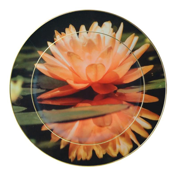 Leaf Designs Peach Lotus Ceramic Dinner Plate