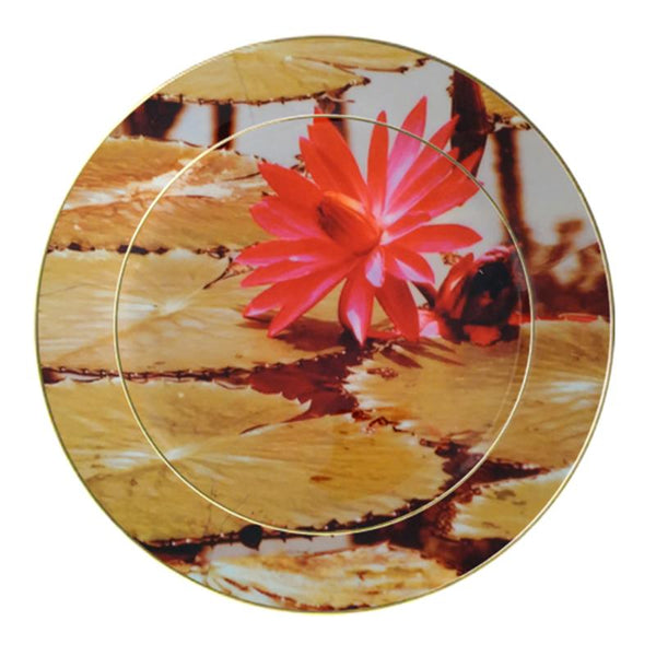 Leaf Designs Pink Lotus Ceramic Dinner Plate