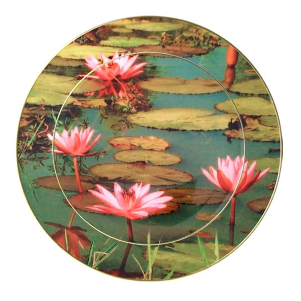 Leaf Designs Pink Lotus (A) Ceramic Dinner Plate