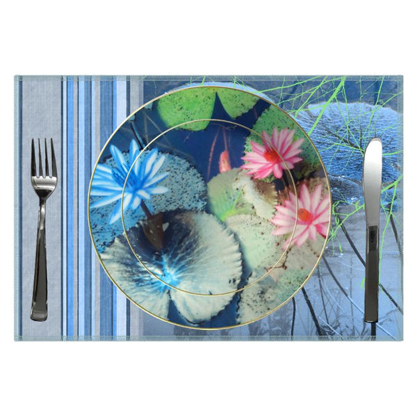 Leaf Designs Blue And Pink Lotus Ceramic Dinner Plate