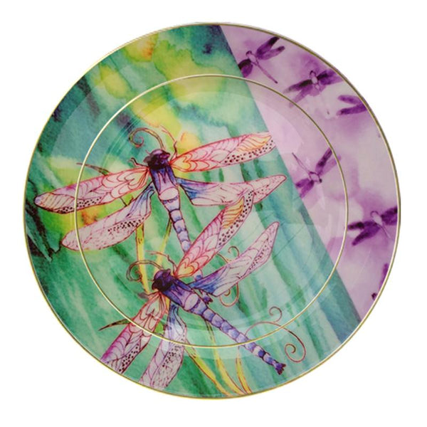 Leaf Designs Violet Dragonfly Dinner Plate