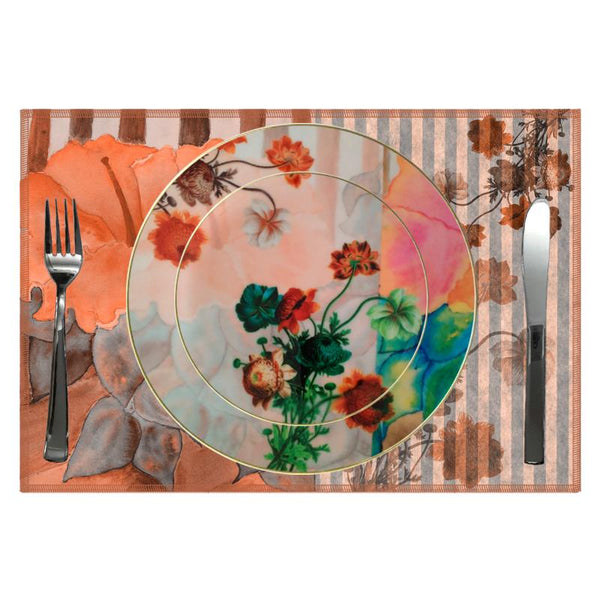 Leaf Designs Stripe & Floral Dinner Plate