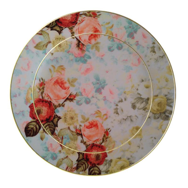 Leaf Designs Light Blue Vintage Dinner Plate
