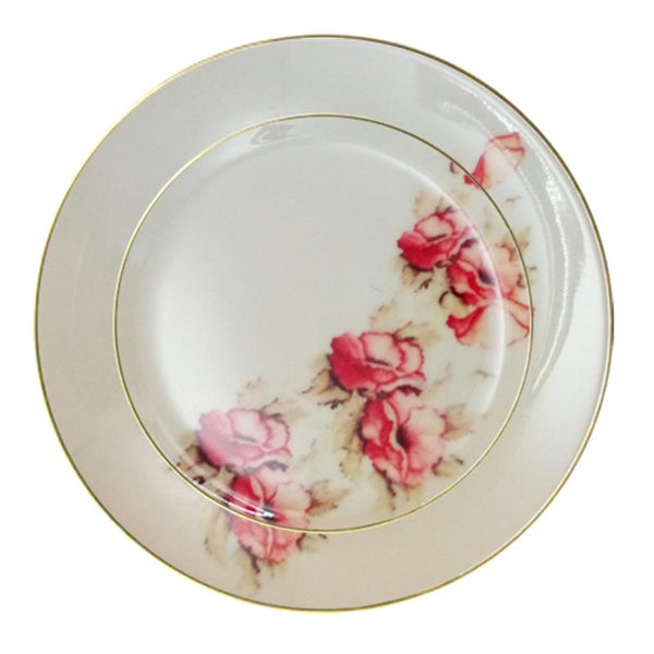 Leaf Designs Shaded Peach Floral Dinner Plate