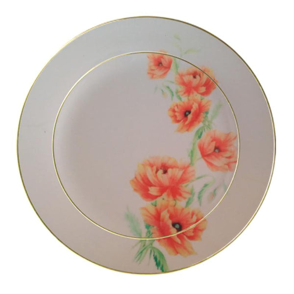 Leaf Designs Peach Pink Floral Dinner Plate