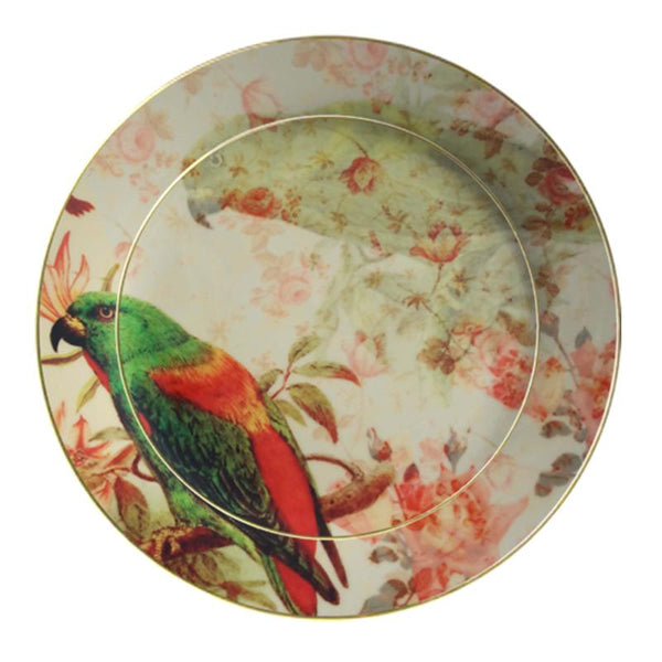 Leaf Designs Green Parrot Ceramic Dinner Plate