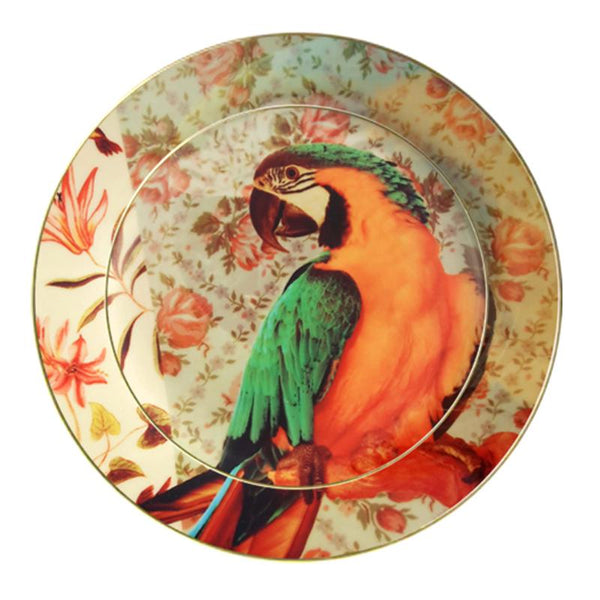 Leaf Designs Green & Orange Parrot Ceramic Dinner Plate