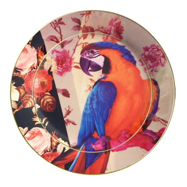 Leaf Designs Blue & Orange Parrot Ceramic Dinner Plate