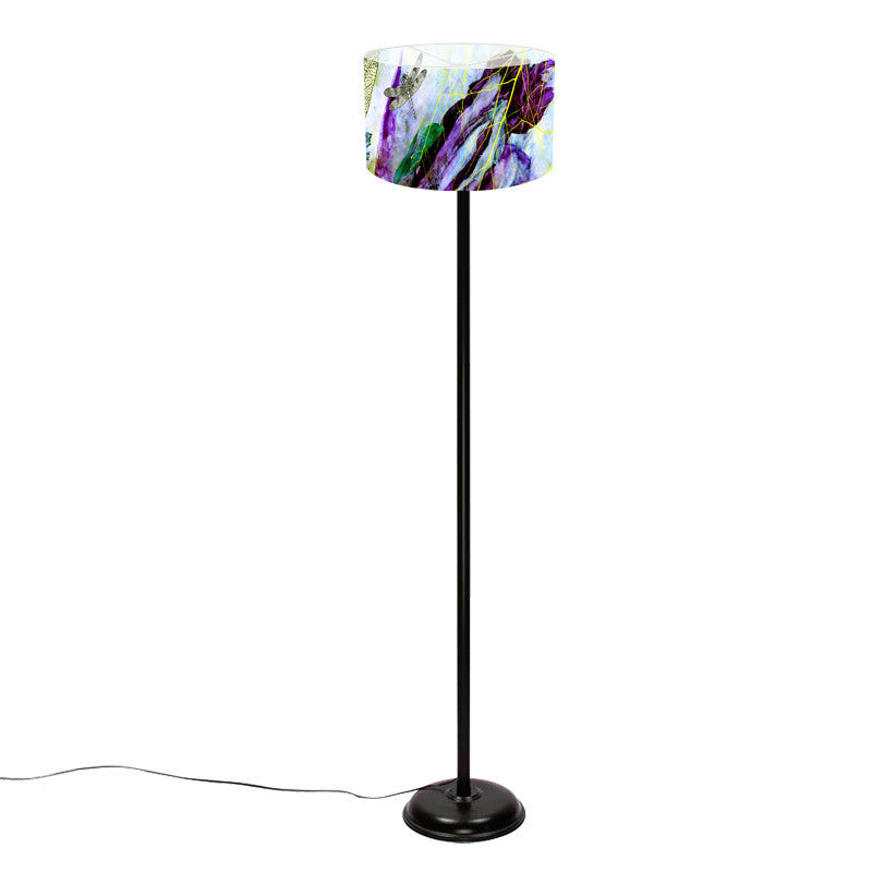Leaf Designs Purple Floral Floor Lamp