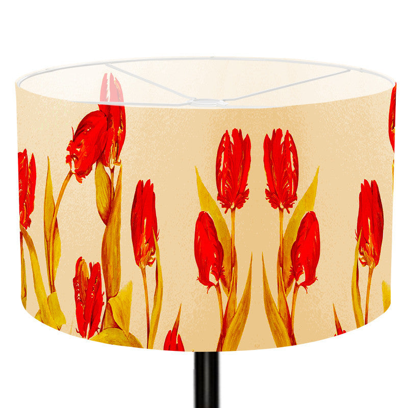 Leaf Designs Red Yellow Floral Floor Lamp