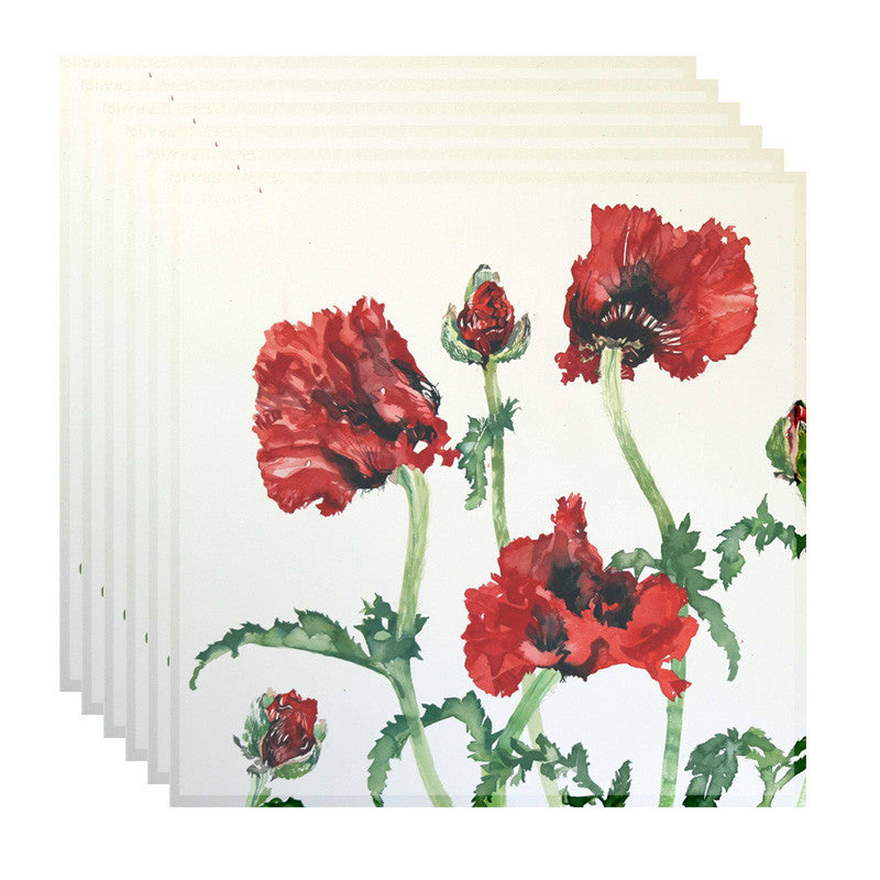 Leaf Designs Red And Green Floral Table Napkins (A) - Set Of 6
