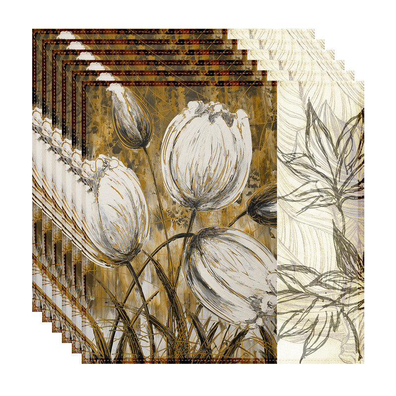 Leaf Designs Khaki & Ivory Floral Table Napkins - Set Of 6