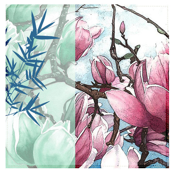 Leaf Designs Light Pink & Blue Floral Table Napkins - Set Of 6