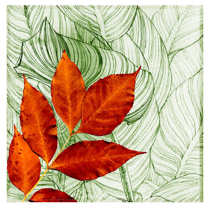 Leaf Designs Green & Red Floral Table Napkins - Set Of 6