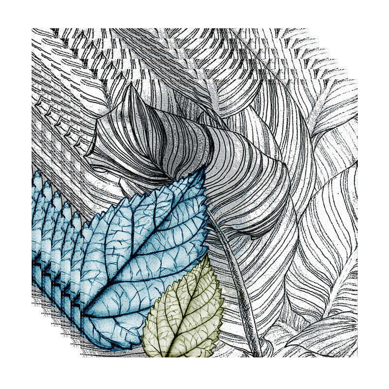 Leaf Designs Blue & Green Leaves Table Napkins - Set Of 6