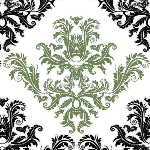 Leaf Designs Black And Green Floral Pattern Table Napkins - Set Of 6