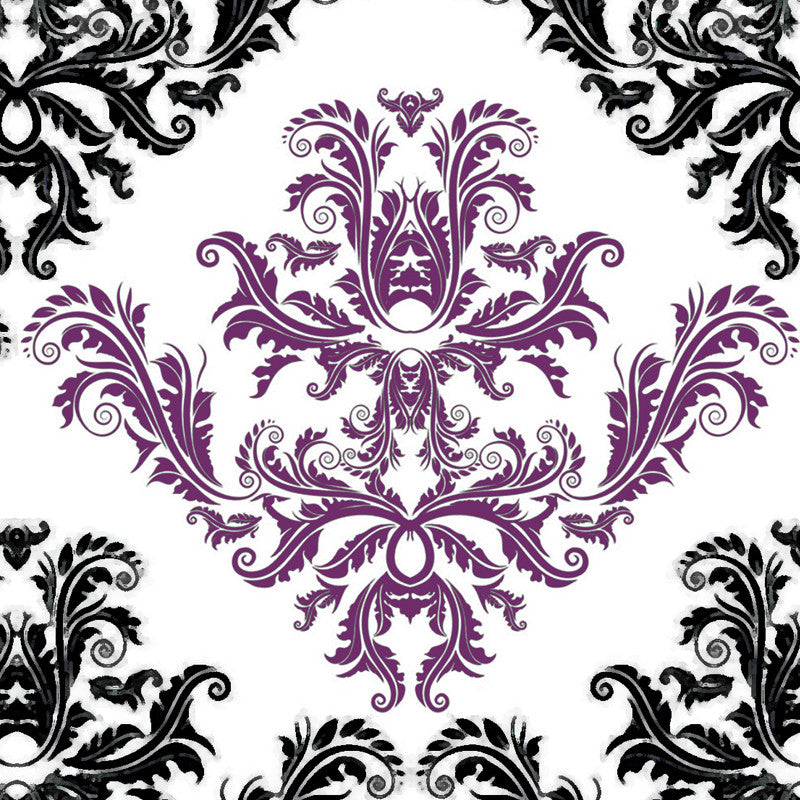 Leaf Designs Black And Purple Table Napkins - Set Of 6