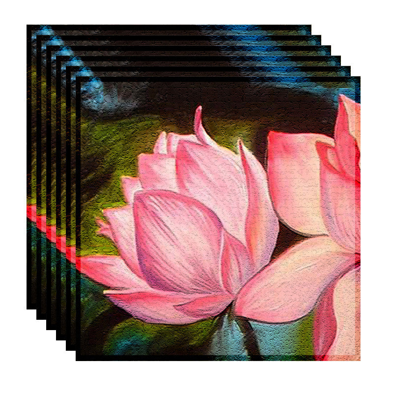 Leaf Designs Pink Lotus Table Napkins - Set Of 6