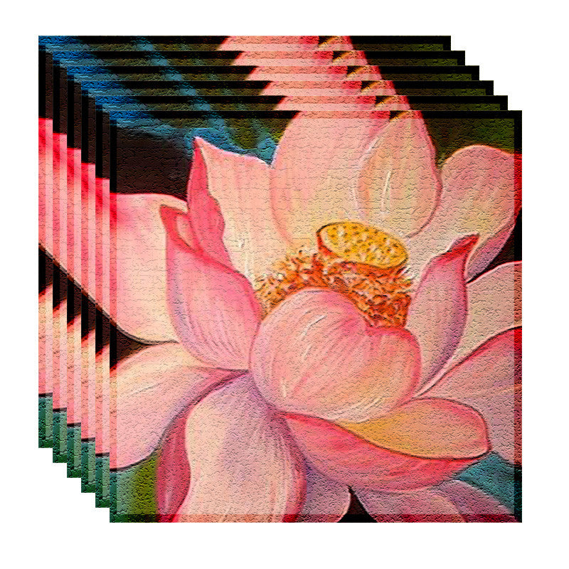 Leaf Designs Peach Lotus Table Napkins - Set Of 6