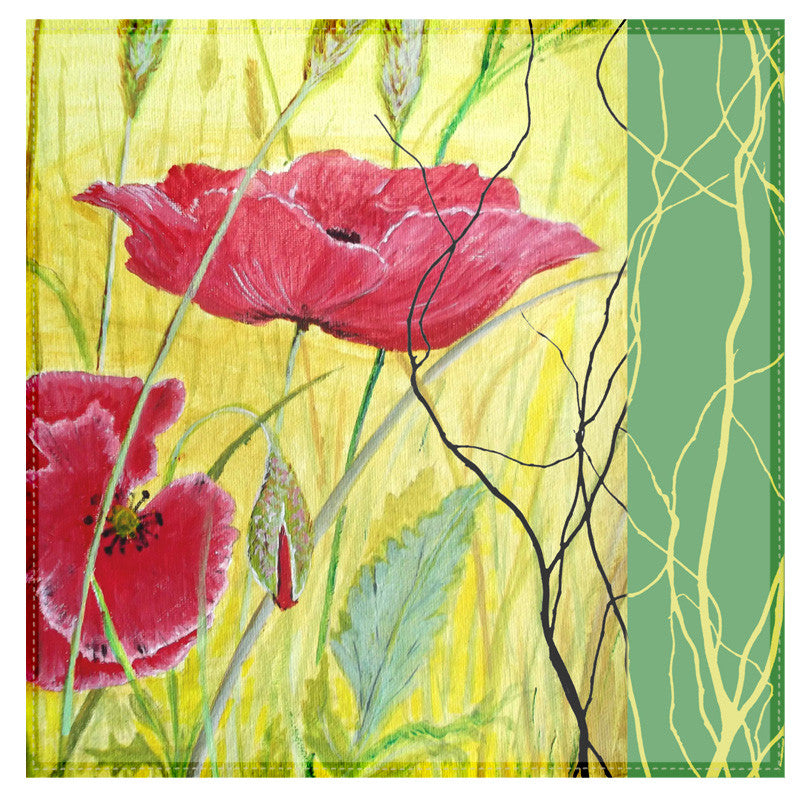 Leaf Designs Yellow And Red Floral Table Napkins - Set Of 6