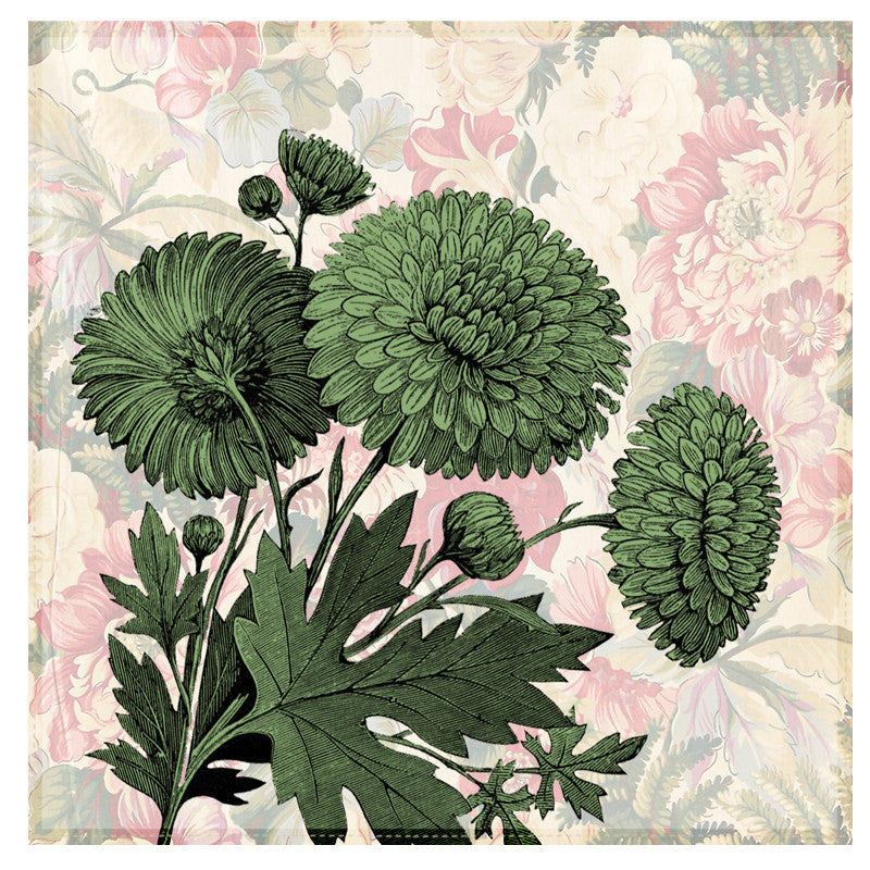 Leaf Designs Chintz Green Floral Table Napkins - Set Of 6