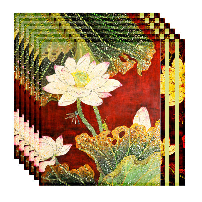 Leaf Designs Red And Green Floral Table Napkins - Set Of 6