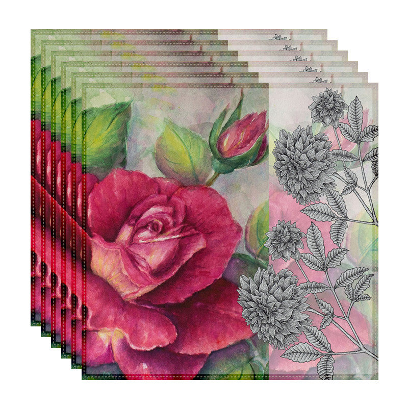 Leaf Designs Antique Rose Table Napkins - Set of 6