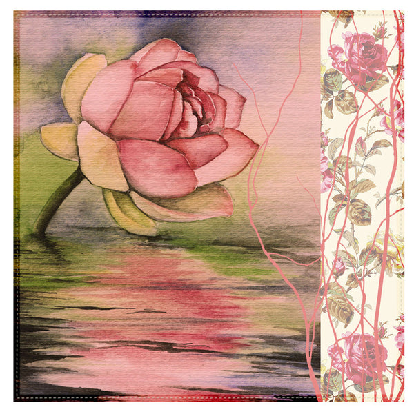 Leaf Designs Pink Rose Table Napkins - Set of 6