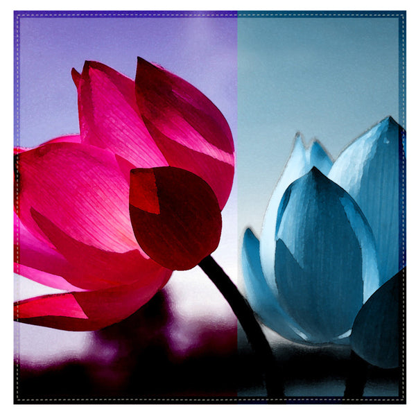 Leaf Designs Fuchsia & Blue Shaded Lotus Table Napkins - Set Of 6