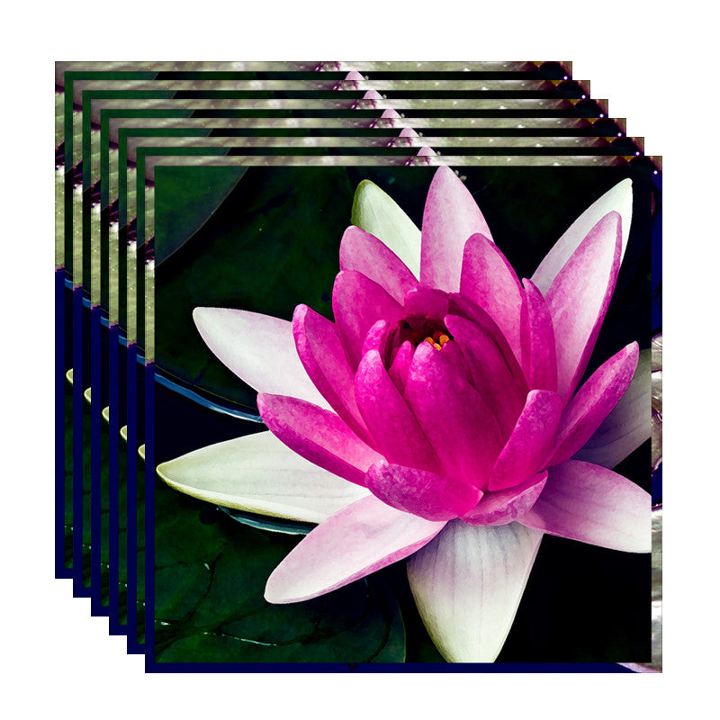 Leaf Designs White & Pink Shaded Lotus Table Napkins - Set Of 6