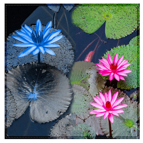 Leaf Designs Blue & Pink Lotus Table Napkins - Set Of 6