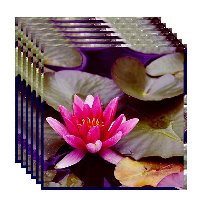 Leaf Designs Pink & Purple Lotus Table Napkins - Set Of 6