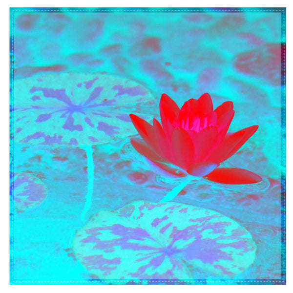 Leaf Designs Pink & Light Blue Lotus Table Napkins - Set Of 6