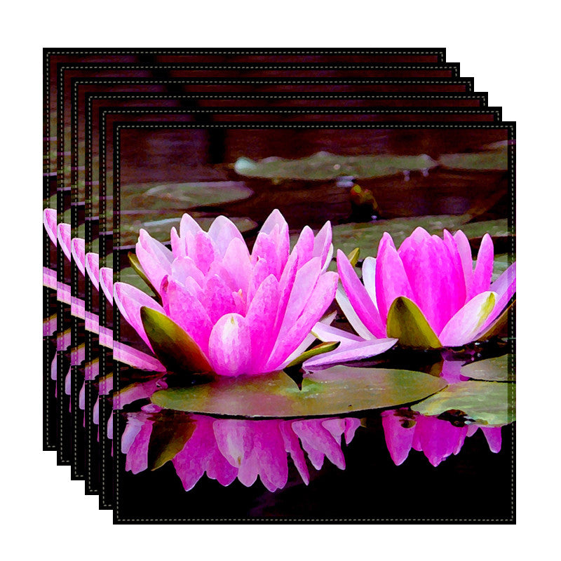 Leaf Designs Pink Double Lotus Table Napkins - Set Of 6